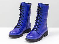 Ботинки из натуральной кожи флотар ярко-синего цвета, на шнурке и на утолщенной подошве черного цвета 36-41р., фото 1