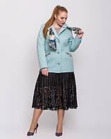 Стеганая куртка на пуговицах с шарфом батал, разные цвета, фото 1