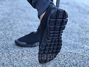 Кроссовки мужские черные Nike Free Run 3.0 сетка реплика, фото 2