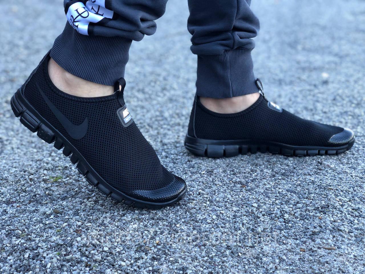 Кроссовки мужские черные Nike Free Run 3.0 сетка реплика