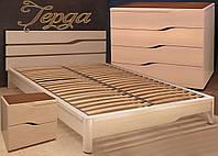 Кровать двуспальная деревянная 160х200 «Герда» с ящиками, с подъемным механизмом белая из дерева