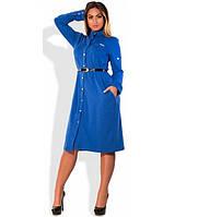 Стильное женское синее платье рубашка миди с пояском размеры от XL