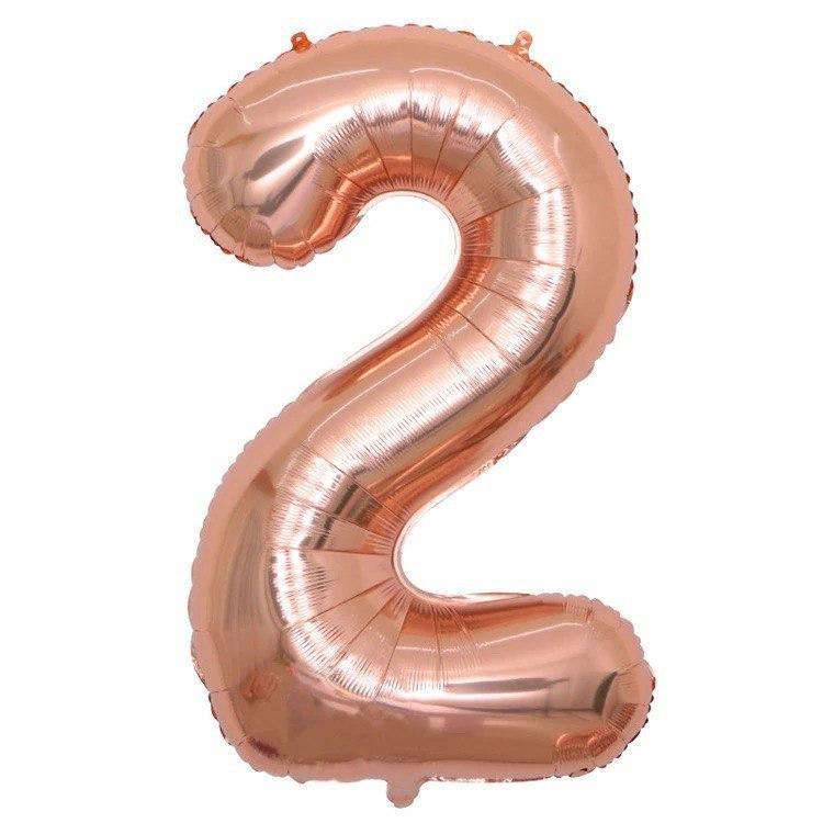 """Фольгована кулька Цифра  Слім рожеве золото """"40""""(100см) №2"""