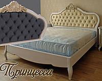 Кровать двуспальная деревянная 200х200 «Принцесса» с ящиками, с подъемным механизмом белая из дерева