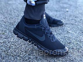Кроссовки мужские синие Nike Free Run 3.0 реплика, фото 2