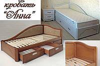 Кровать полуторная деревянная 120Х200 «Анна» с ящиками, с подъемным механизмом белая из дерева
