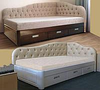 Кровать полуторная деревянная 120Х200 «Злата» с ящиками, с подъемным механизмом белая из дерева