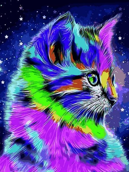 Картины по номерам 30×40 см. Радужный котенок