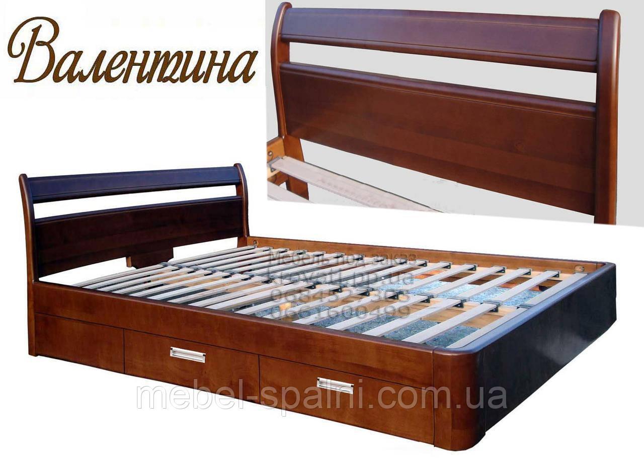 Ліжко полуторне дерев'яна 140Х200 «Валентина» з шухлядами, з підйомним механізмом біла з дерева