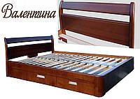 Ліжко полуторне дерев'яна 140Х200 «Валентина» з шухлядами, з підйомним механізмом біла з дерева, фото 1