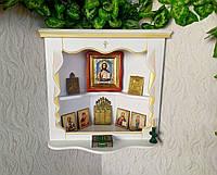 Угловая полочка для икон ручной работы из натурального дерева (белая с патиной)