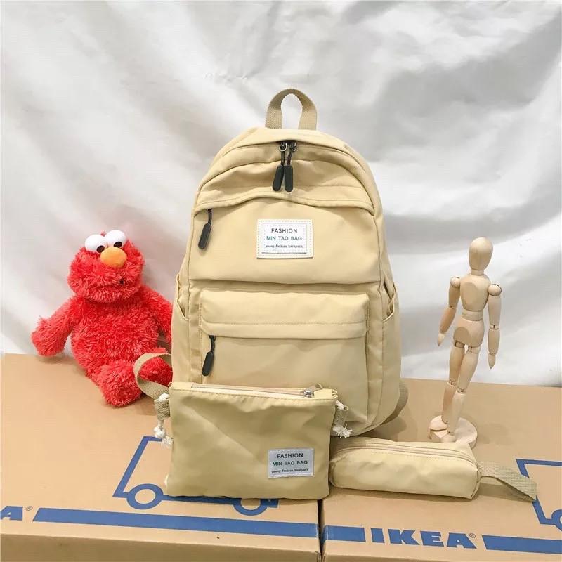 Рюкзак набор женский 3 в 1 ( клатч, пенал) жёлтый. (AV237)