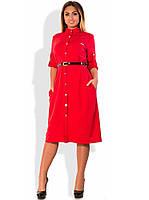 Красное женское платье рубашка миди с пояском размеры от XL