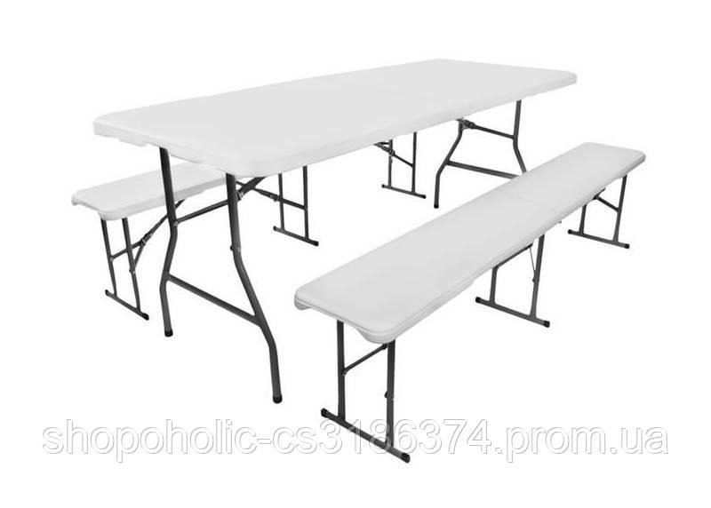 Складной садовый стол 180см + 2 лавка