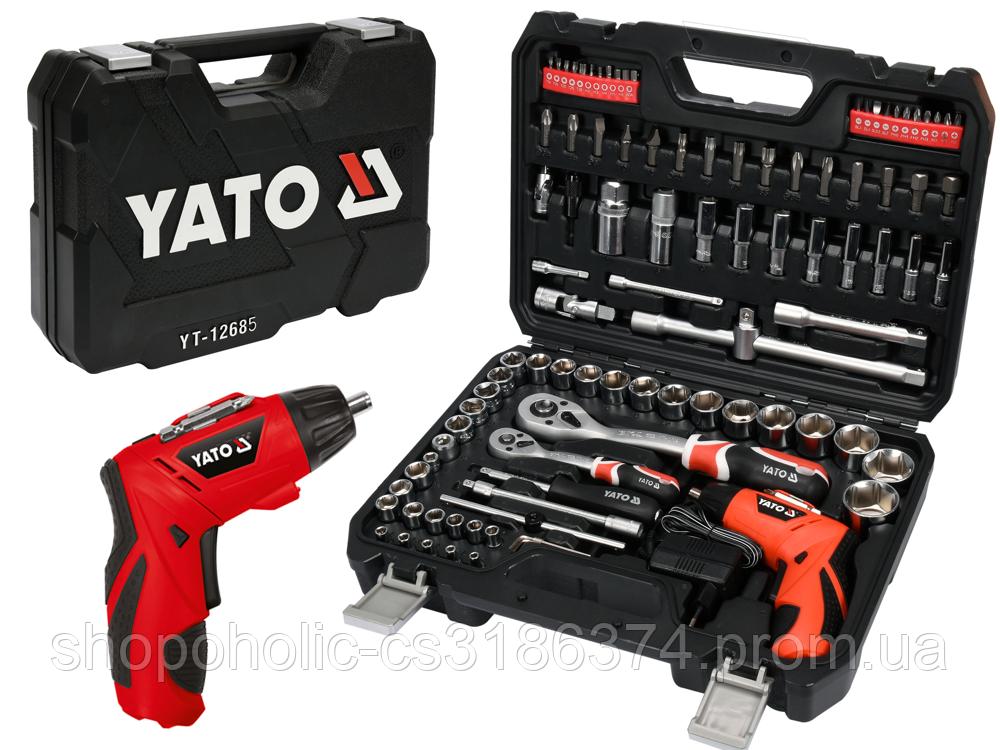 Набор головок ключей инструментов 100 предметов  Yato YT-12685 + Шуруповерт 3.6 В Польша
