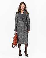 Актуальное комбинированное демисезонное женское пальто, фото 1