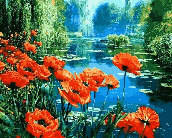Картины по номерам 40×50 см. Маки возле пруда