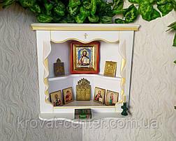 Домашний иконостас из массива натурального дерева от производителя (белая с патиной), фото 2
