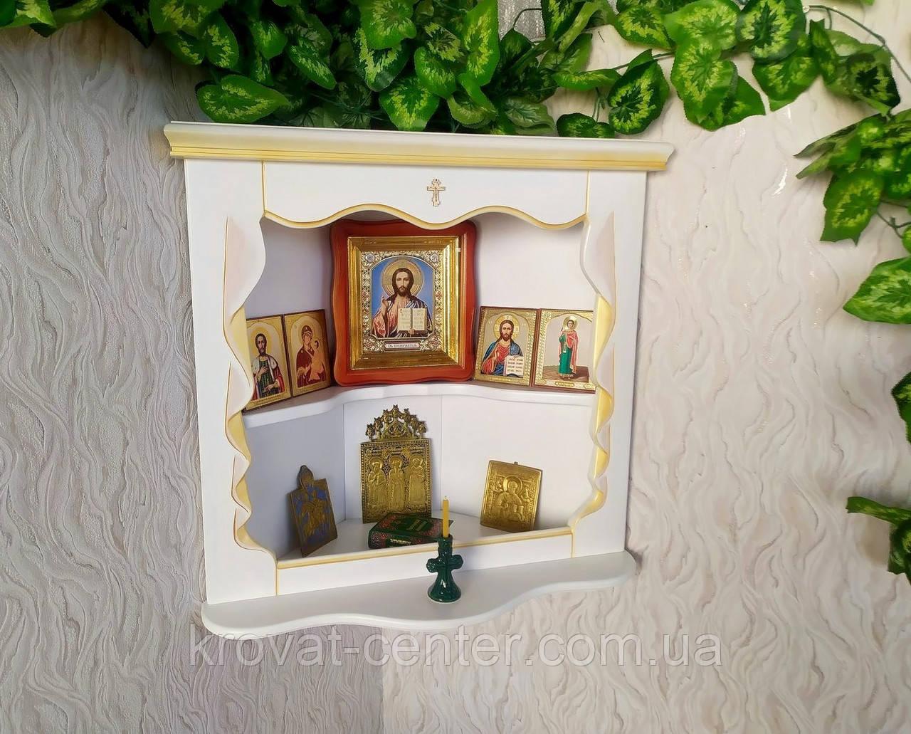 Домашний иконостас из массива натурального дерева от производителя (белая с патиной)