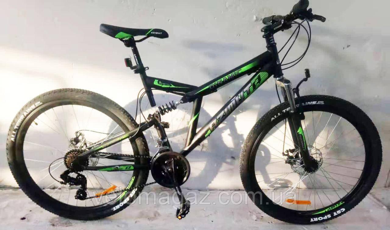 """Велосипед гірський двопідвісний Dinamic GFRD 26"""" чорно-зелений"""