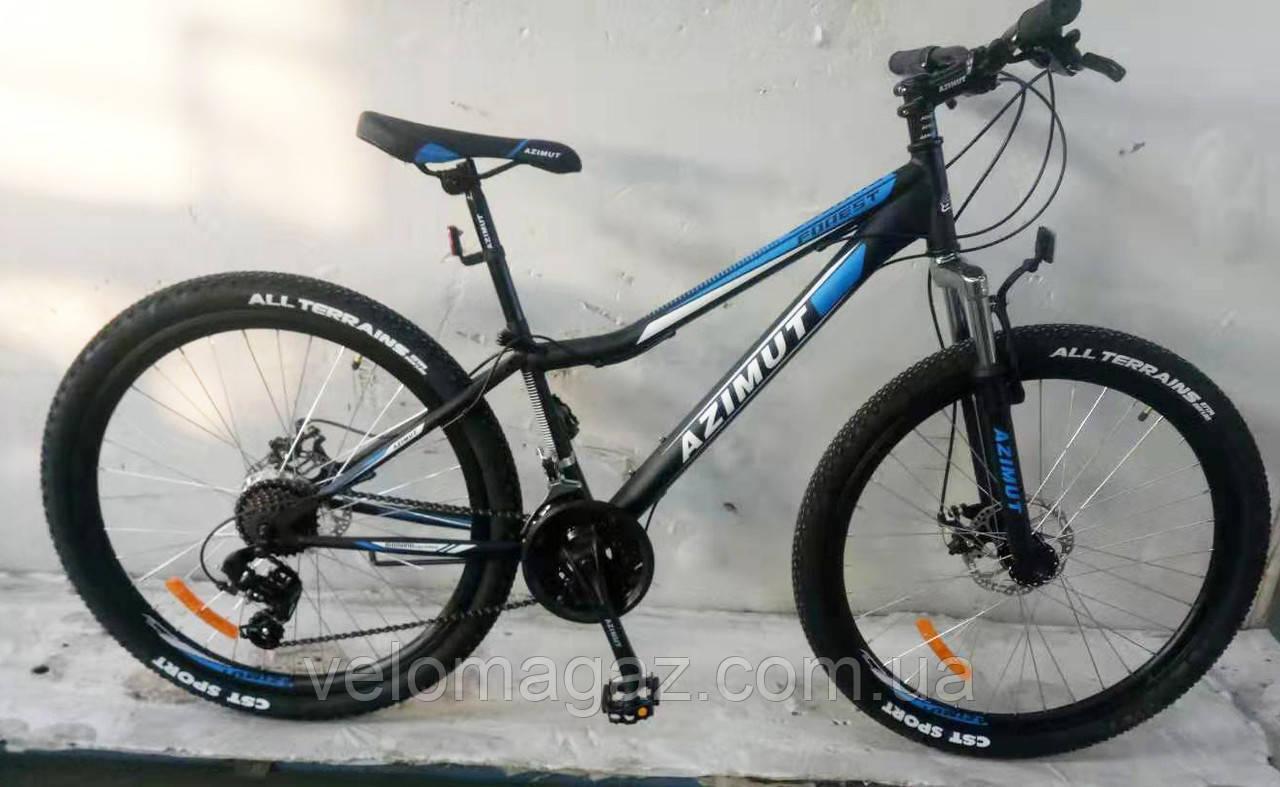 """Велосипед горный AZIMUT """"Forest"""" 26 """" рама 13"""", черно-синий"""