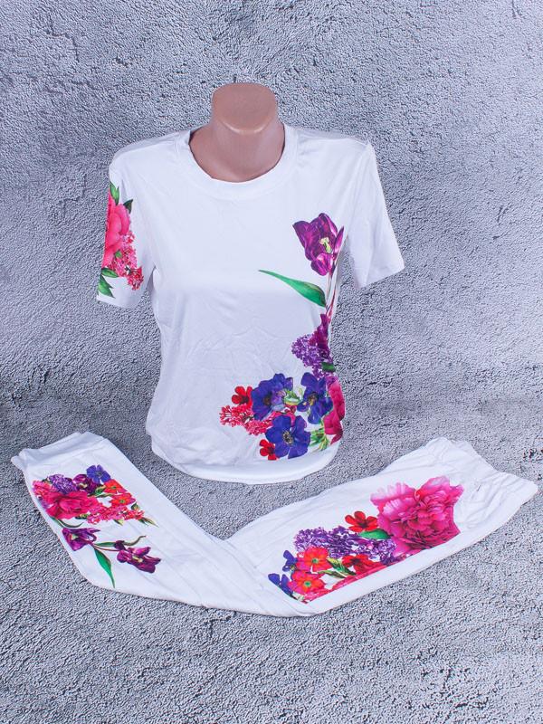 Спортивный костюм женский летний с сублимацией на ткани (белый)
