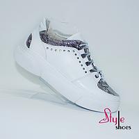 Женские кожаные кеды белого цвета новый стиль, фото 1
