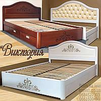 Кровать двуспальная деревянная 160х190 «Виктория» с ящиками, с подъемным механизмом белая из дерева