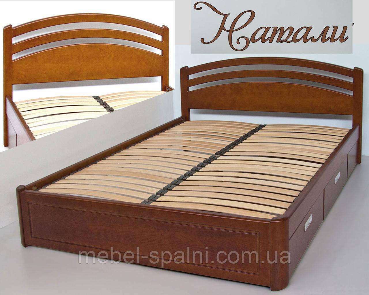 Кровать двуспальная деревянная 180х190 «Натали» с ящиками, с подъемным механизмом белая из дерева