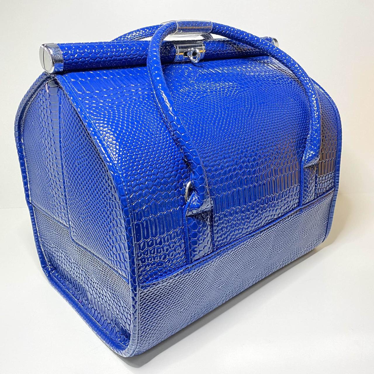 Сумка саквояж для майстра валізу органайзер Б'юті Кейс, синій