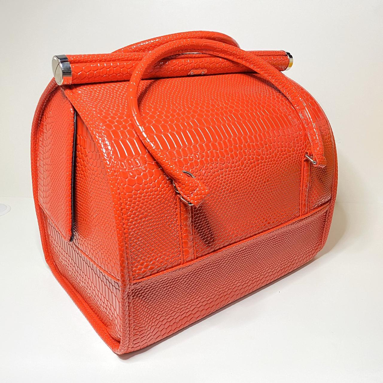 Сумка саквояж для майстра валізу органайзер Б'юті Кейс, помаранчевий