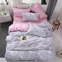 Комплект постельного белья Котенок и клубок (полуторный) серый