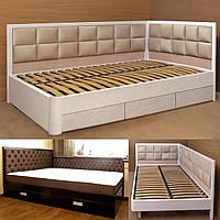 Кровать двуспальная деревянная 200х190 «Агата» с ящиками, с подъемным механизмом белая из дерева