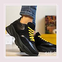 Женские кроссовки натуральная кожа/замша черные, желтые шнурки, фото 1