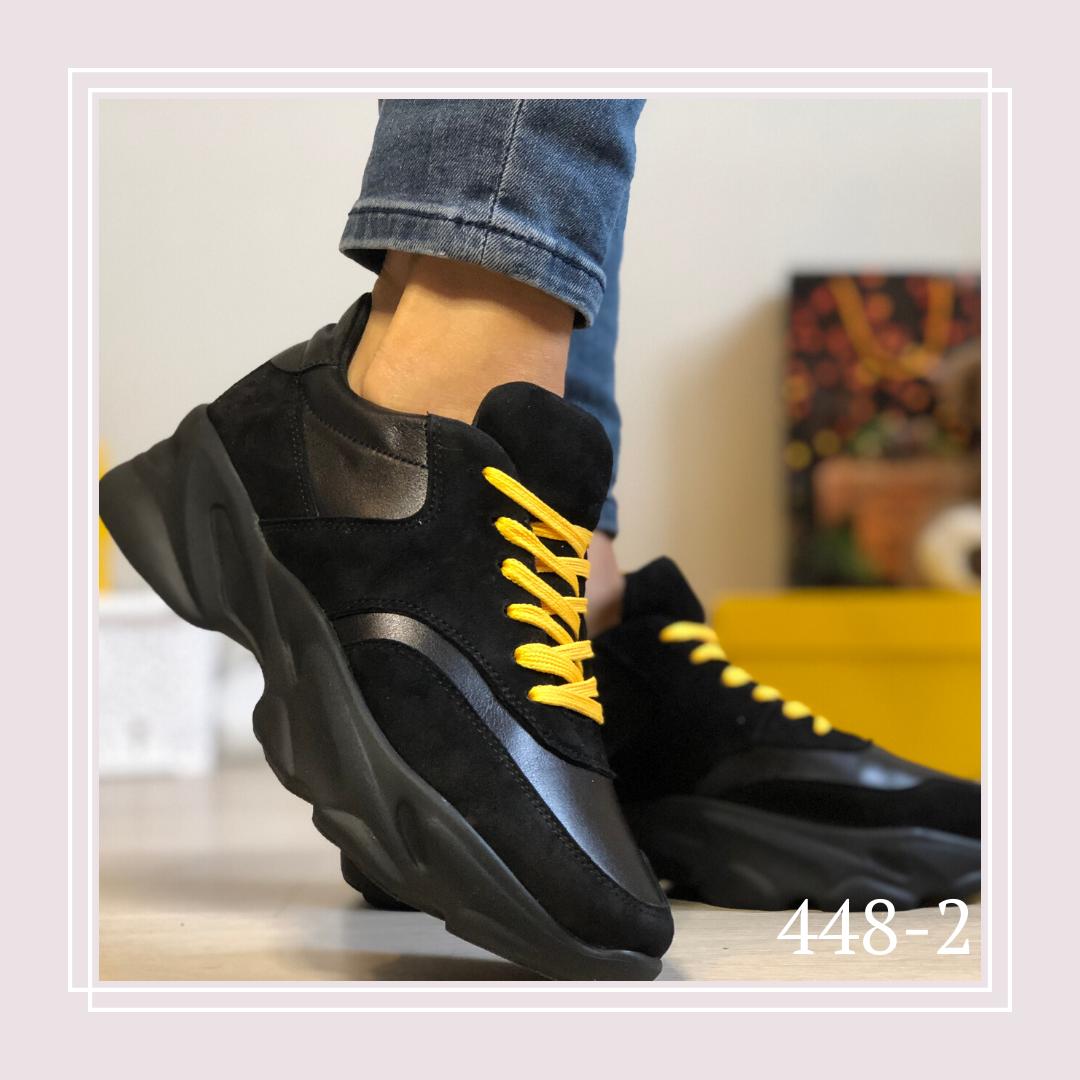 Женские кроссовки натуральная кожа/замша черные, желтые шнурки
