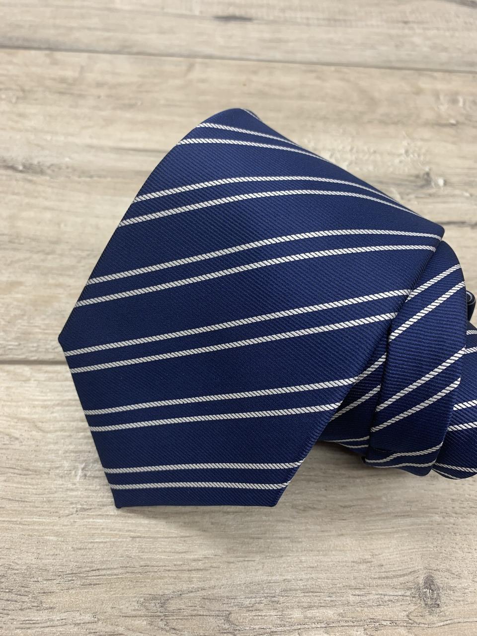 Галстук синий в полоску 8,5 см.