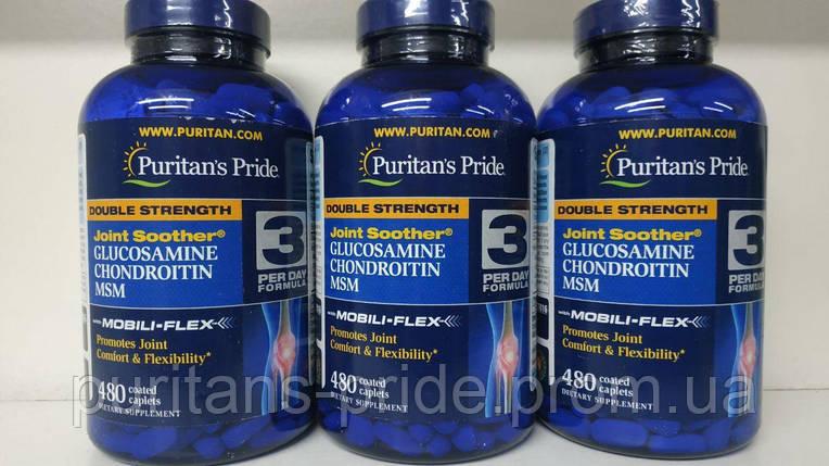 Препарат для восстановления суставов и связок, Puritan's Pride Glucosamine chondroitin MSM 480 таблеток, фото 2
