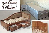 Кровать подростковая детская 80х190 «Анна» с ящиками белая из дерева от производителя