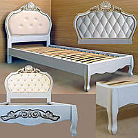 Кровать подростковая детская 80х190 «Принцесса» с ящиками белая из дерева от производителя