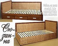 Кровать подростковая детская 90х190 «Сюзанна» с ящиками белая из дерева от производителя