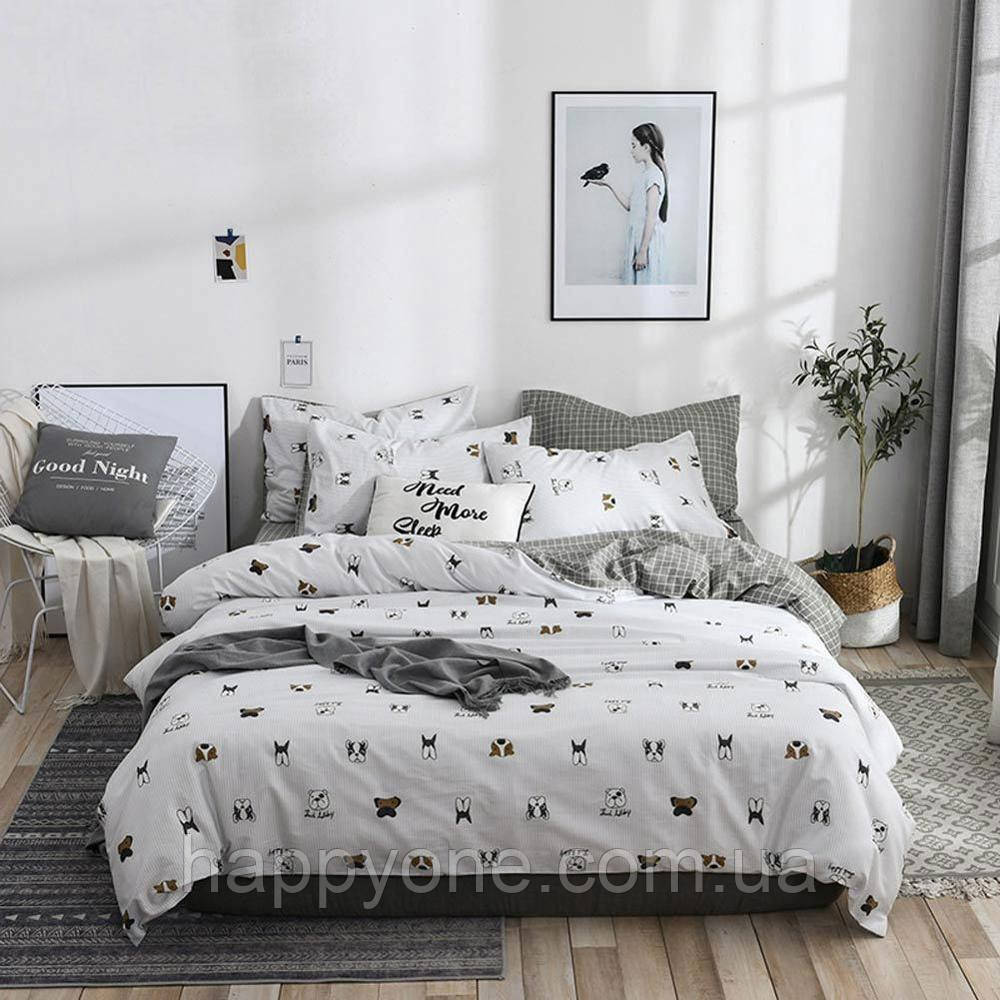 Полуторный комплект постельного белья Dog faces (хлопок)