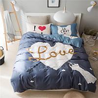 Полуторный комплект постельного белья I love cats (хлопок), фото 1