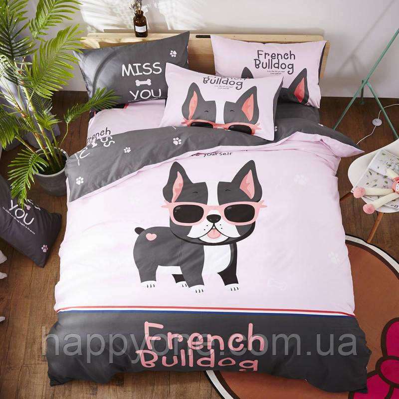 Полуторный комплект постельного белья French Bulldog (хлопок)