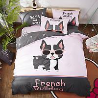 Полуторный комплект постельного белья French Bulldog (хлопок), фото 1