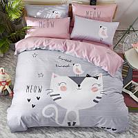 Полуторный комплект постельного белья Meow (хлопок), фото 1