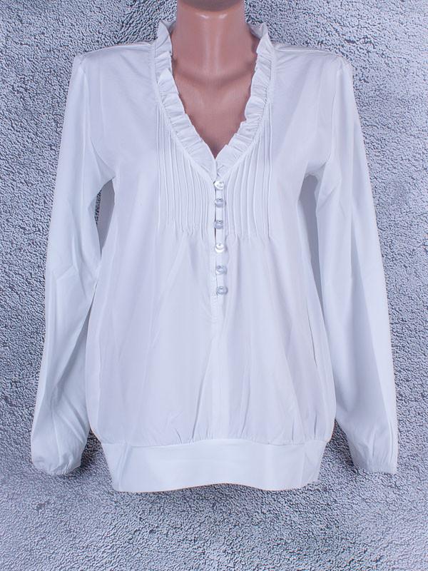 Блузка однотонная женская с длинным рукавом (белый)
