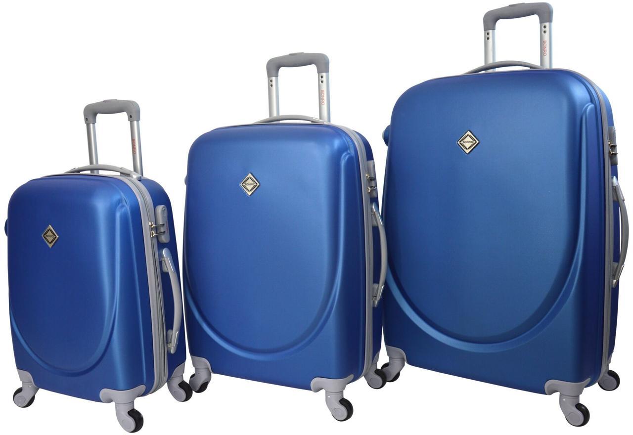 Набор чемоданов дорожный 3 штуки пластиковый на 4 колесиках с кодовым замком Синий