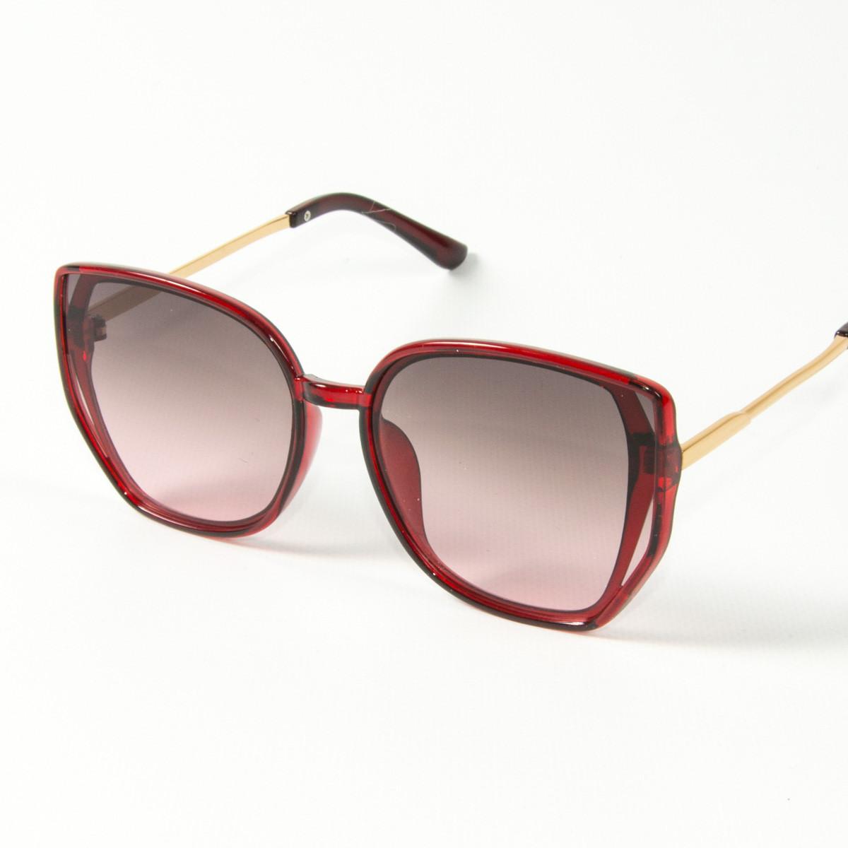 Оптом женские солнцезащитные очки кошачий глаз (арт. 2311/3) коричнево-красные