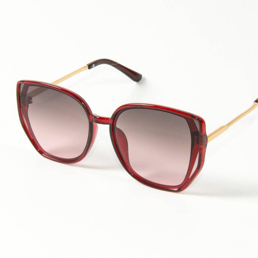 Оптом женские солнцезащитные очки кошачий глаз (арт. 2311/3) коричнево-красные, фото 2