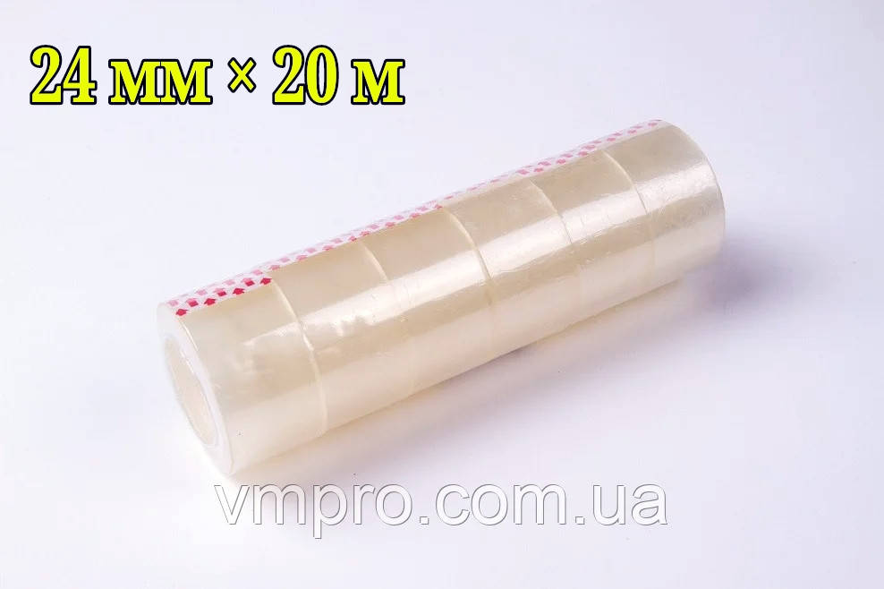 Скотч канцелярский прозрачный (24 mm×20 m,6 шт/упаковка)